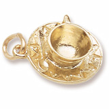 Rembrandt Cup and Saucer Charm, Gold Plate