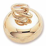 Rembrandt Curling Stone Charm, Gold Plate
