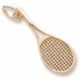 Gold Plated Mid-Size Tennis Racquet Charm by Rembrandt Charms