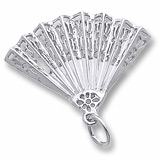 Rembrandt Hand Fan Charm, Sterling Silver