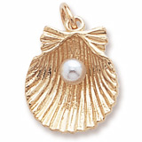 Gold Plate Clamshell with Pearl Charm by Rembrandt Charms