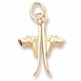 Gold Plate Pair of Skis Charm by Rembrandt Charms