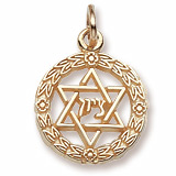14K Gold Star of David Wreath Charm by Rembrandt Charms