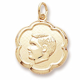 14k Gold Boy's Head Scalloped Disc Charm by Rembrandt Charms