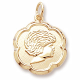 10K Gold Girls Head Scalloped Disc Charm by Rembrandt Charms