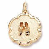 10K Gold Baby Booties Scalloped Charm by Rembrandt Charms