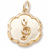 14K Gold Treble Clef Scalloped Charm by Rembrandt Charms