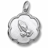 Sterling Silver Praying Hands Scalloped Charm by Rembrandt Charms