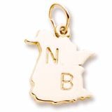 Gold Plate New Brunswick Map Charm by Rembrandt Charms