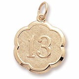 14K Gold Number Thirteen Scalloped Charm by Rembrandt Charms
