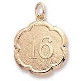 Gold Plate Number Sixteen Scalloped Charm by Rembrandt Charms