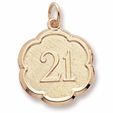 14K Gold Number 21 Scalloped Disc Charm by Rembrandt Charms