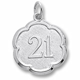 14K White Gold Number 21 Scalloped Disc Charm by Rembrandt Charms