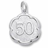 14K White Gold Number Fifty Scalloped Charm by Rembrandt Charms