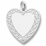 14K White Gold Scrolled Classic Heart Charm by Rembrandt Charms