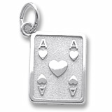 14K White Gold Ace of Hearts Charm by Rembrandt Charms