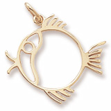 Gold Plate Flat Fish Charm by Rembrandt Charms