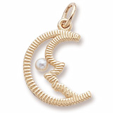 10K Gold Half Moon with Pearl Charm by Rembrandt Charms