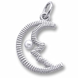 Sterling Silver Half Moon with Pearl Charm by Rembrandt Charms
