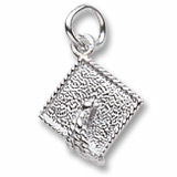 14k White Gold Graduation Cap Accent Charm by Rembrandt Charms
