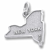 Sterling Silver New York Map Charm by Rembrandt Charms