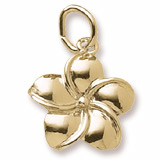 Gold Plate Plumeria Flower Charm by Rembrandt Charms