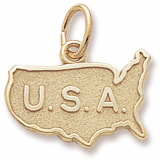 14K Gold USA Map Charm by Rembrandt Charms