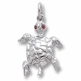 Sterling Silver Turtle with Stones Charm by Rembrandt Charms