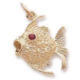 Gold Plated Angelfish with Stones Charm by Rembrandt Charms
