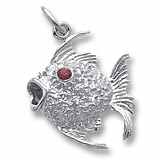 14K White Gold Angelfish with Stones Charm by Rembrandt Charms