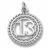 14K White Gold Number 13 Charm by Rembrandt Charms