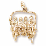 10K Gold Skiing Quad Lift Chair Charm by Rembrandt Charms
