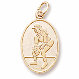 14K Gold Female Softball Player Charm by Rembrandt Charms