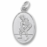 14K White Gold Female Softball Player Charm by Rembrandt Charms