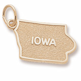 Gold Plated Iowa State Map Charm by Rembrandt Charms