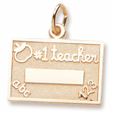 14k Gold Number One Teacher Charm by Rembrandt Charms