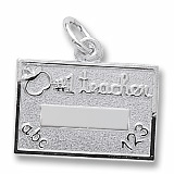 14k White Gold Number One Teacher Charm by Rembrandt Charms