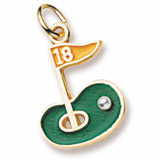 14k Gold Golf Green 18th Hole Charm by Rembrandt Charms