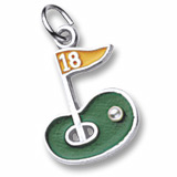 14K White Gold Golf Green 18th Hole Charm by Rembrandt Charms