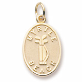 Gold Plated Myrtle Beach Golf Bag Charm by Rembrandt Charms
