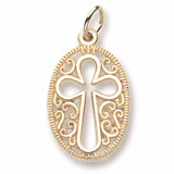 Gold Plate Filigree Oval Cross Charm by Rembrandt Charms
