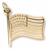 Gold Plated USA Flag Charm by Rembrandt Charms