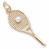 10k Gold Tennis Racquet & pearl by Rembrandt Charms