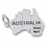 14k White Gold Australia Map Charm by Rembrandt Charms