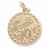 14k Gold Adorable 10 Birthday Charm by Rembrandt Charms