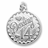 14k White Gold Darling 14 Birthday by Rembrandt Charms