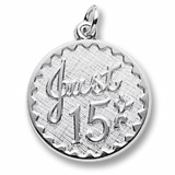 14k White Gold Just 15 Birthday Charm by Rembrandt Charms