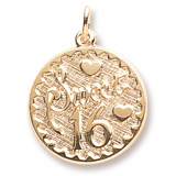10k Gold Sweet Sixteen Disc Charm by Rembrandt Charms