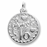 Sterling Silver Sweet Sixteen Disc Charm by Rembrandt Charms