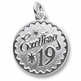 14k White Gold Exciting 19 Birthday Charm by Rembrandt Charms